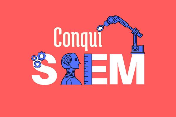 Arte com o fundo rosa escrito ConquiSTEM em branco. Entre as letras, estão desenhadas engrenagens, o busto de um robô e um braço mecanico, todos em azul.