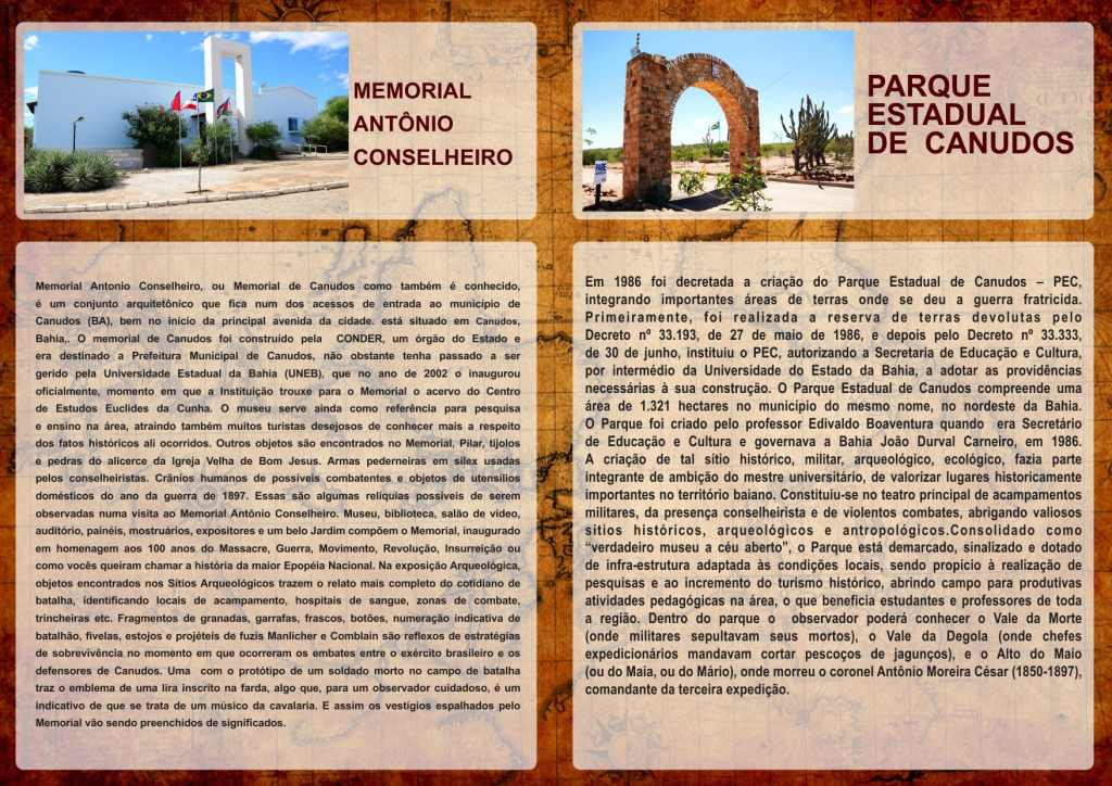 Arte com um mapa antigo ao fundo. Á frente, duas colunas de texto: a primeira descreve o Memorial do Antônio Conselheiro; a segunda, o Parque estadual de Canudos
