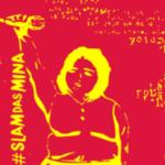 Arte com fundo rosa. No centro, há a silhueta de uma mulher segurando um microfone erguido e para frente. À esquerda da imagem, está escrito #SLAMDASMINA. Os elementos estão em amarelo.