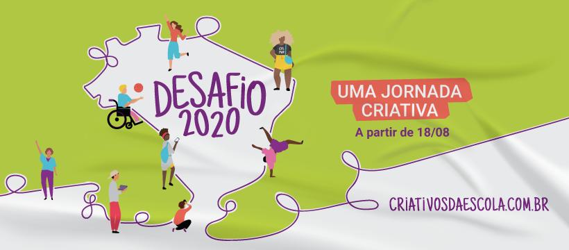 Imagem de lançamento do Desafio 2020, com um mapa do Brasil rodeado de jovens