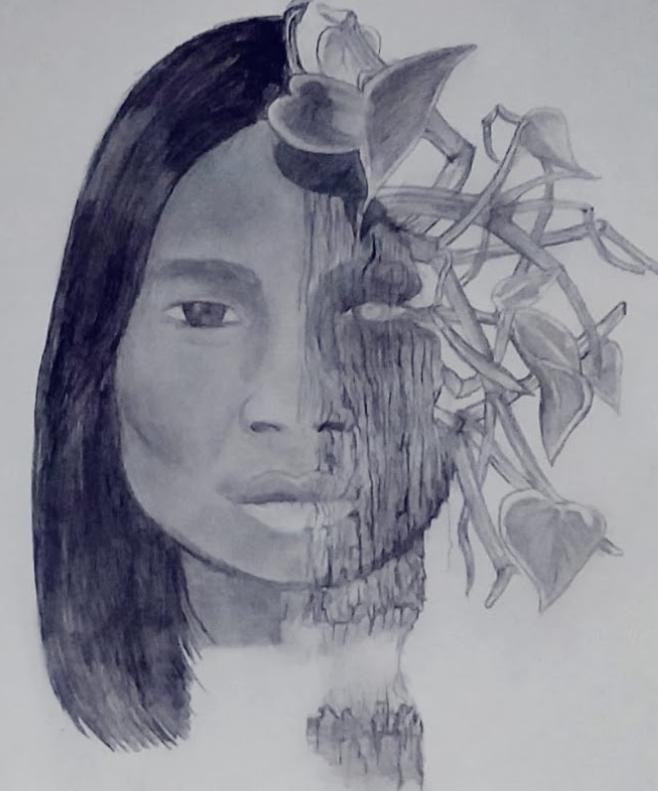 Desenho feito a lápis preto de um rosto que a metade lembra o rosto de uma pessoa indígena e a outra metade da face forma uma planta em que o rosto é o tronco e o cabelo são as folhas.