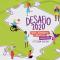 """Arte com fundo verde com textura de papel colado com algumas rugas. Ao centro, há um mapa vazado do Brasil formado por linhas arredondadas. Ao longo da linha, há ilustrações de jovens fotografando, dançando, mexendo no celular, etc. No centro do mapa está escrito, Desafio 2020. Na parte direita da imagem, lemos: Uma Jornada Criativa em destaque rosa e embaixo, há uma tarja roxa, em que está escrito""""PRORROGADA!"""", e logo abaixo dela está escrito """"Até o dia 10/11""""."""