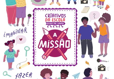 Arte colorida com diversas ilustrações de pessoas conversando, brincando e etc. Ao centro há um quadro com o logo do Criativos da Escola e do jogo A Missão