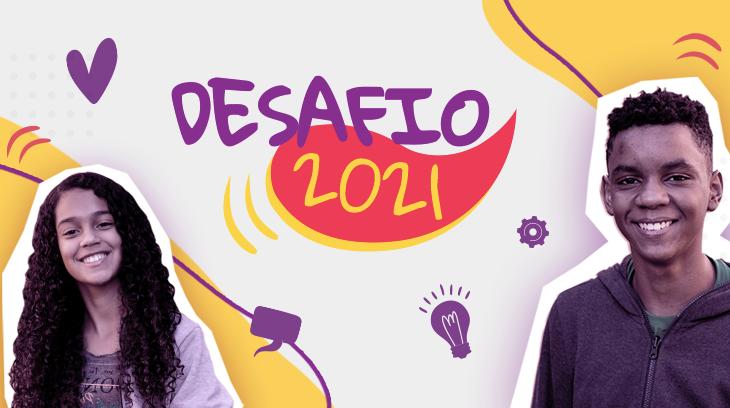 Montagem com a foto de dois jovens negros com um filtro roxo, eles estão em destaque. Ao fundo, está o logo do Desafio 2021