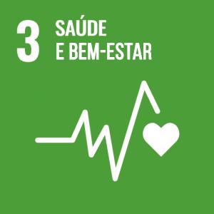 Ícone da ODS 3 - Saúde e Bem Estar - com fundo verde e o desenho de um batimento cardíaco