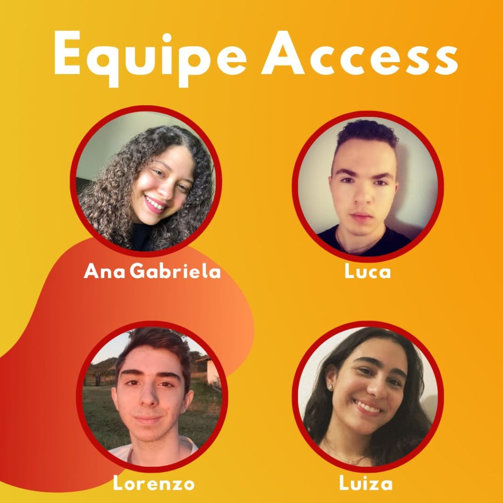 Montagem com quatro fotos de adolescentes organizada em círculos diferentes. No topo está escrito Equipe Access, e embaixo de cada foto, o nome do integrante: Ana Gabriela, Luca, Lorenzo e Luiza.
