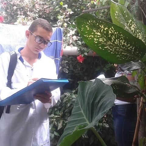 Um jovem de óculos faz anotações em frente a uma árvore
