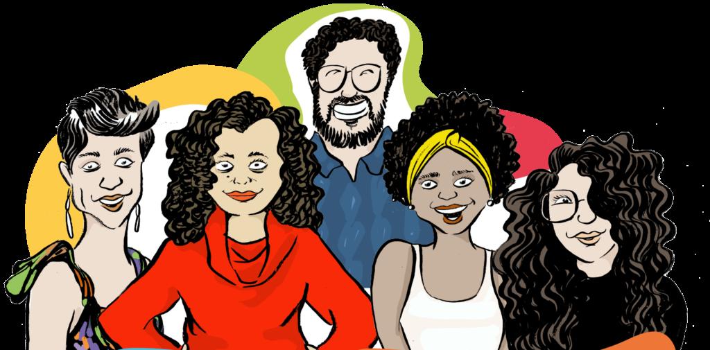 Ilustração de 5 pessoas adultas. Há 4 mulheres no plano principal, e um homem ao fundo. Há manchas coloridas no entorno.