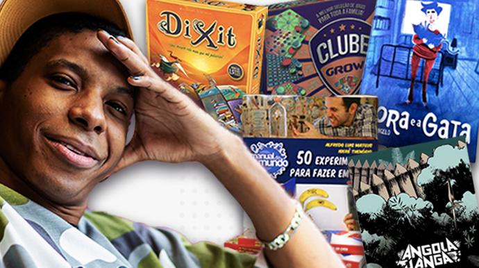 Montagem com foto de um jovem negro no primeiro plano e ao fundo, há jogos e livros e histórias em quadrinhos
