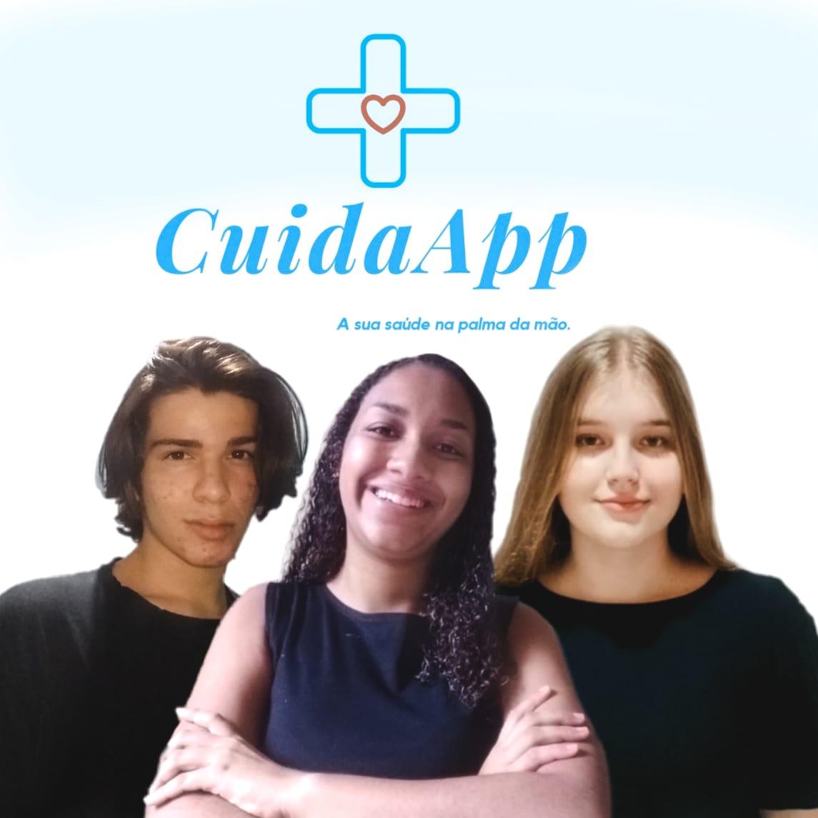 Montagem com o recorte da foto de 3 jovens: um menino branco ao fundo, uma jovem negra à frente, e o lado esquerdo uma menina branca. Em cima deles há o logo do CuidaApp