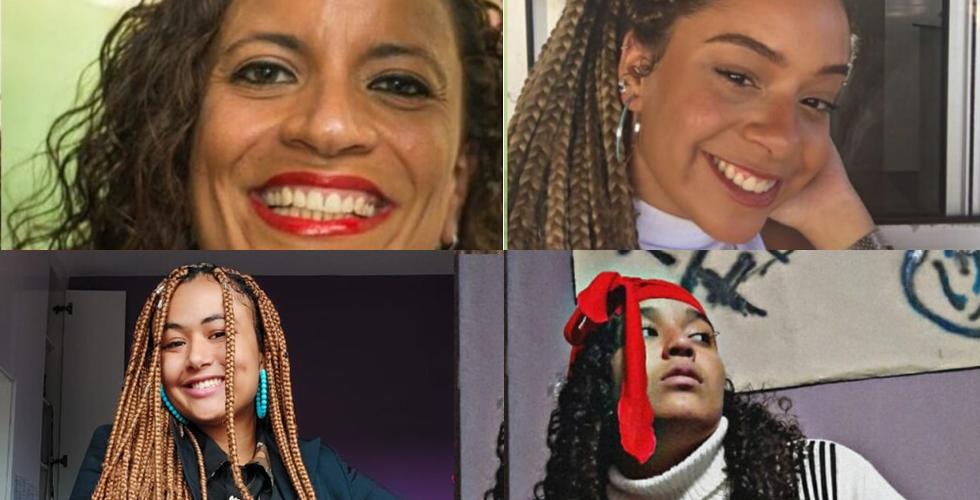 Montagem de 4 fotos com 3 adolescentes e uma mulher negra. Três delas sorriem para a câmera e outra olha para o lado.