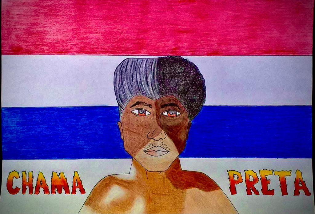 Desenho feito a mão com lápis de cor representando um homem com vários tons de pele negra e escrito Chama Preta