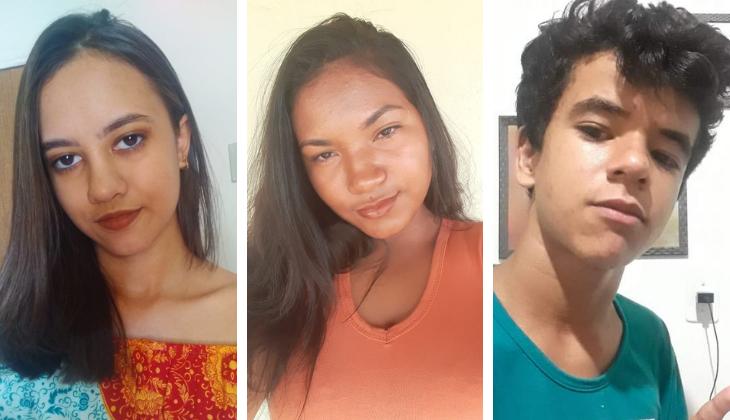 Montagem com a foto de três adolescentes: duas meninas de cabelos lisos e blusas coloridas. E um menino de cabelos curtos e cacheados. Todos olham para a câmera.