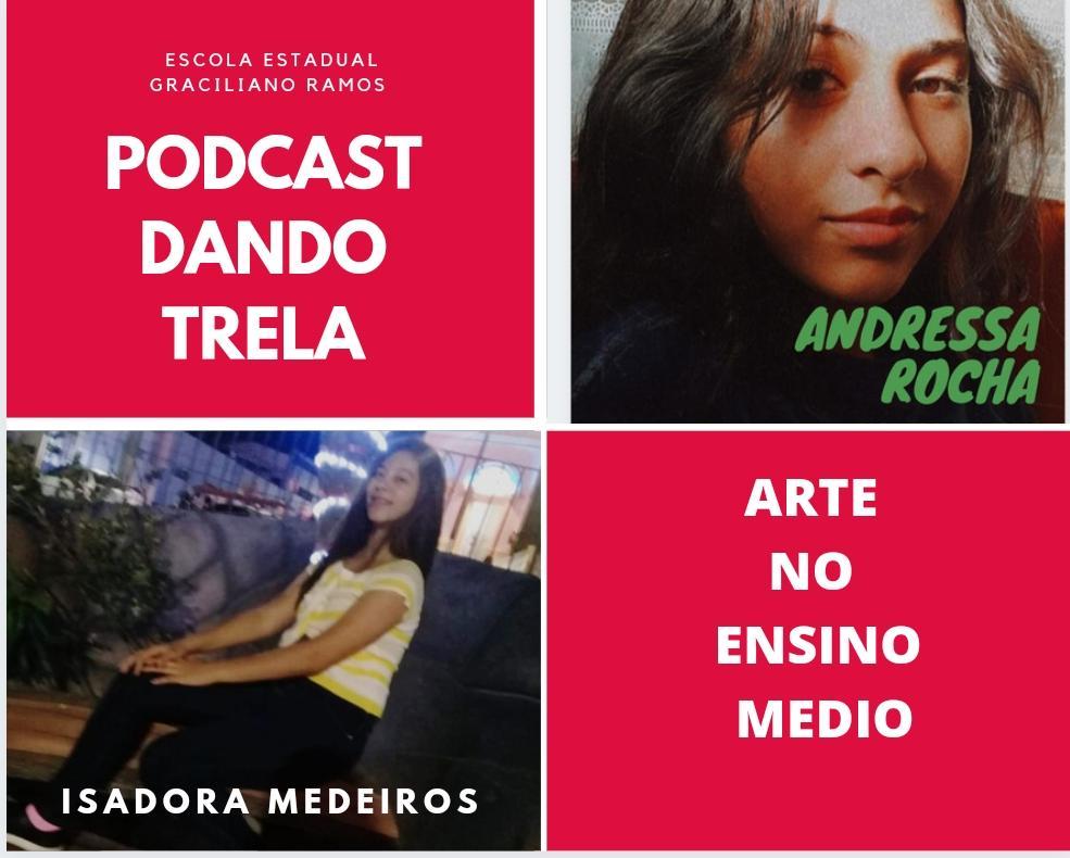 Montagem com duas fotos de adolescentes brancas e dois quadros rosa. Em um está escrito Podcast Dando Trela e outro Arte no Ensino Médio