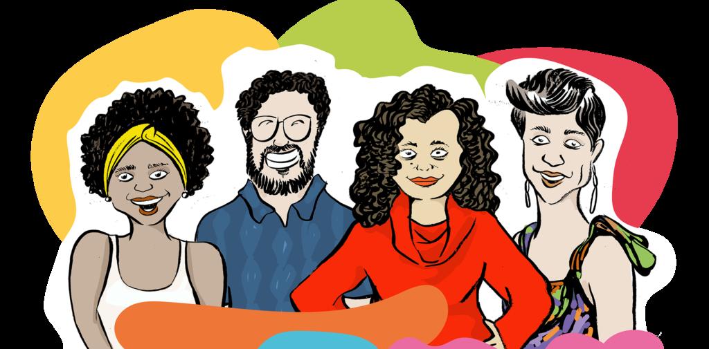 Ilustração de 4 pessoas adultas. Há 3 mulheres no plano principal, e um homem ao fundo. Há manchas coloridas no entorno.